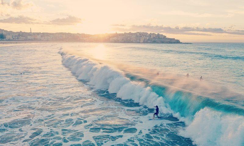 Surfing on Bondi Beach