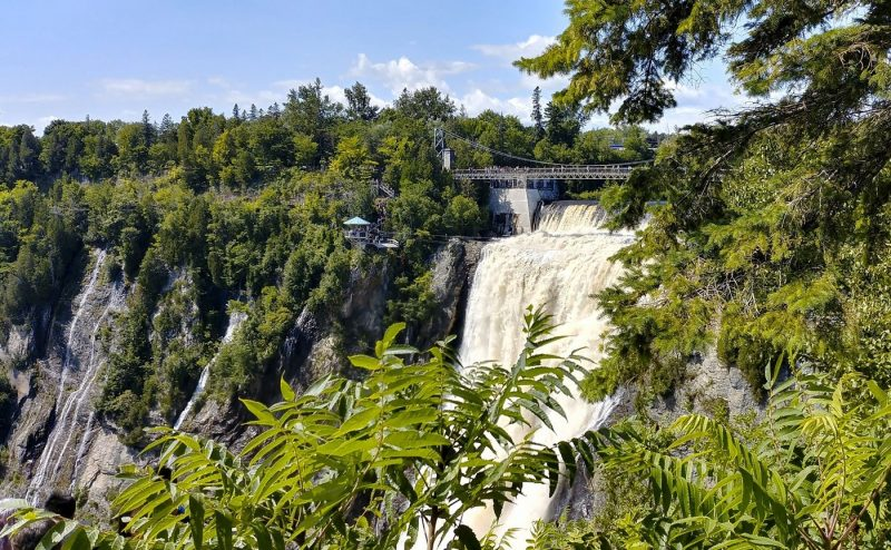 Large waterfall Montmorency Falls in Canada