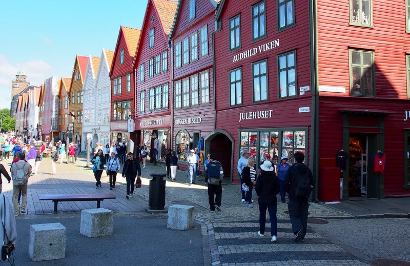People walking on Bergen shopping street