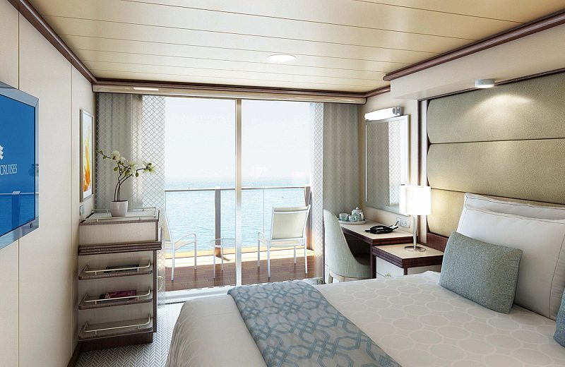 A Princess stateroom with a balcony view