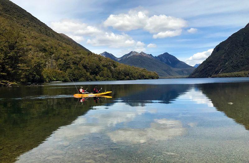 Two people in canoe in New Zealand
