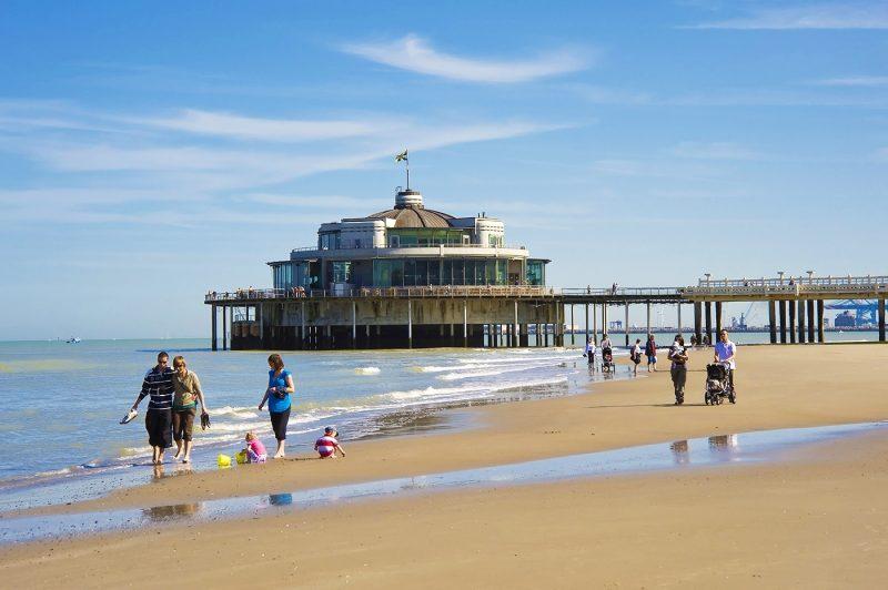 People on the beach, Blankenberge Pier, North Sea Coast, Belgium, Europe