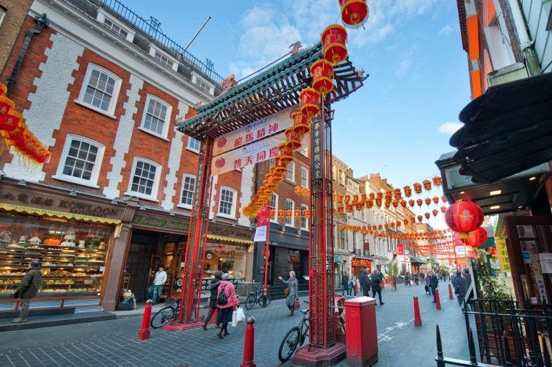 A street scene from Chinatown in London