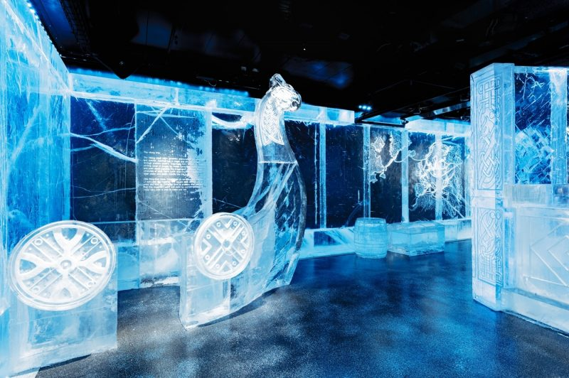 A viking ship created from ice at the Ice Bar in Stockholm
