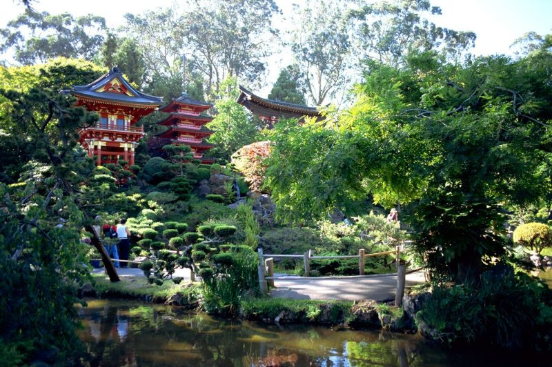 People enjoying the Japanese Tea Garden in the Golden Gate Park San Francisco California
