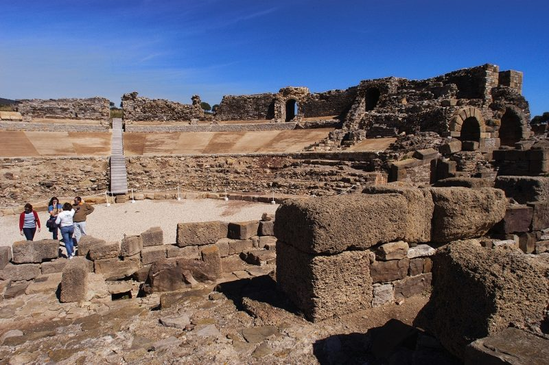 Roman Theatre remains with people, in Cadiz