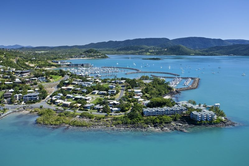 Airlie Beach aerial view and marina