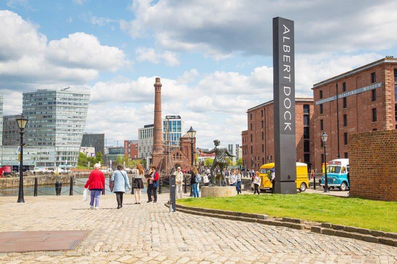 People walking on Albert Dock Liverpool