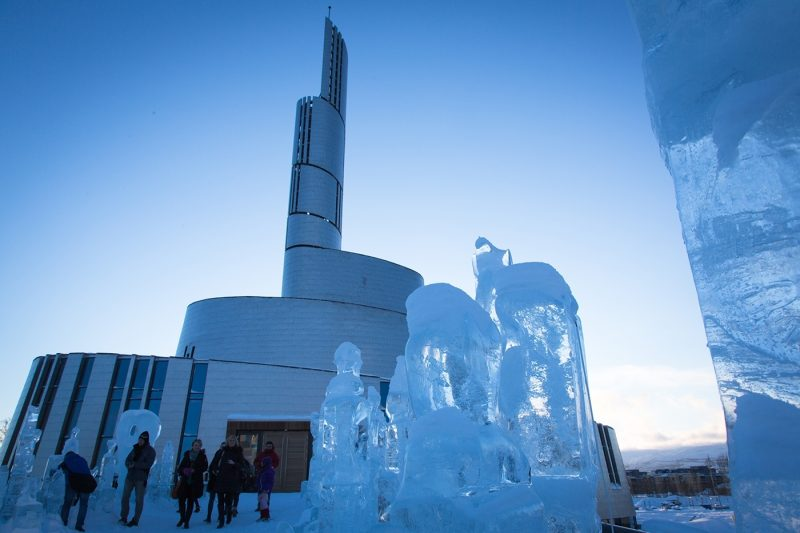 People outside Alta Northern Lights Cathedral