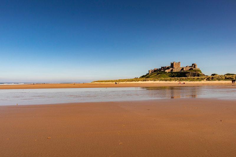 Bamburgh Beach with castle