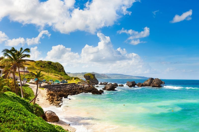 The rugged beach landscape of the famous Bathsheba beach in Barbados