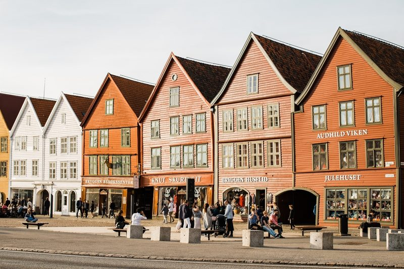 The colourful shops of Bryggen, Bergen