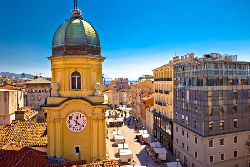 A view of the clock tower in Rijeka Croatia