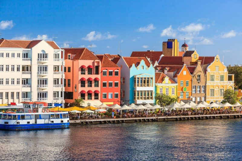 Coloured buildings along the waterfront in Curacao, Dutch Antilles