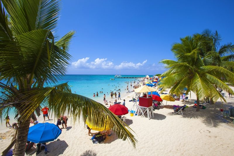 People relaxing and swimming at Doctor's Cave beach, Montego Bay