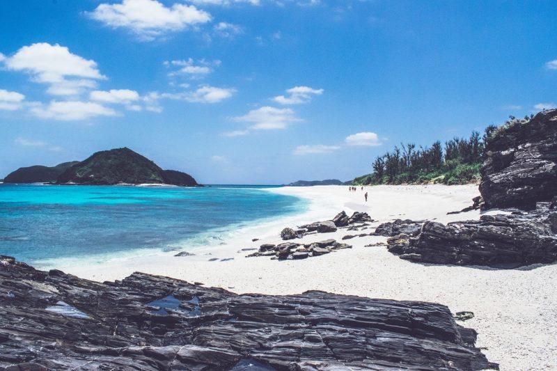 White sandy beach of Okinawa, Japan