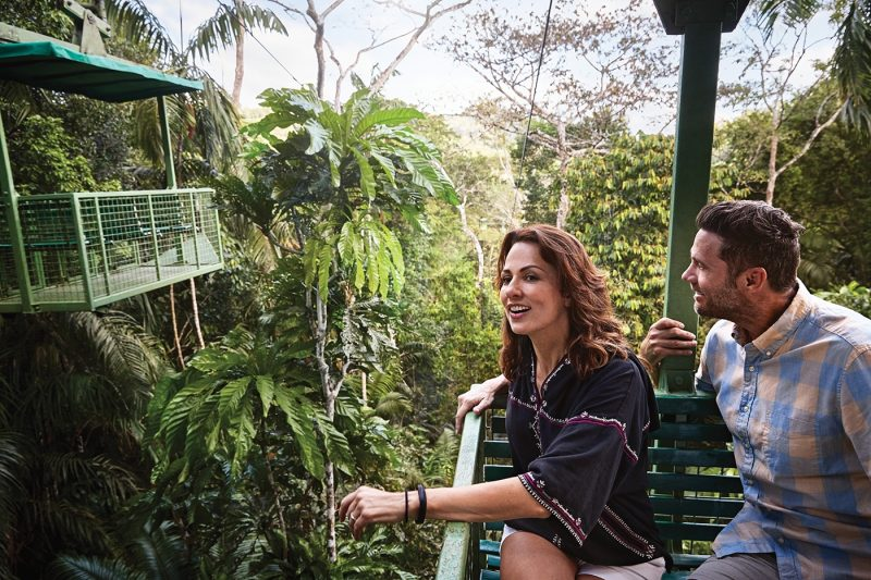 Two people on the Gamboa Rainforest Aerial Tram