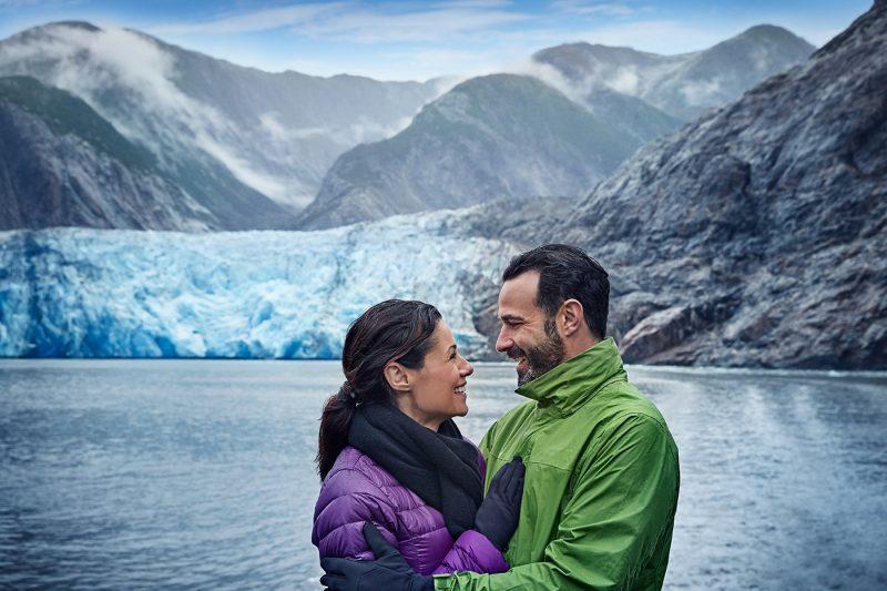 Couple on board ship in Alaska