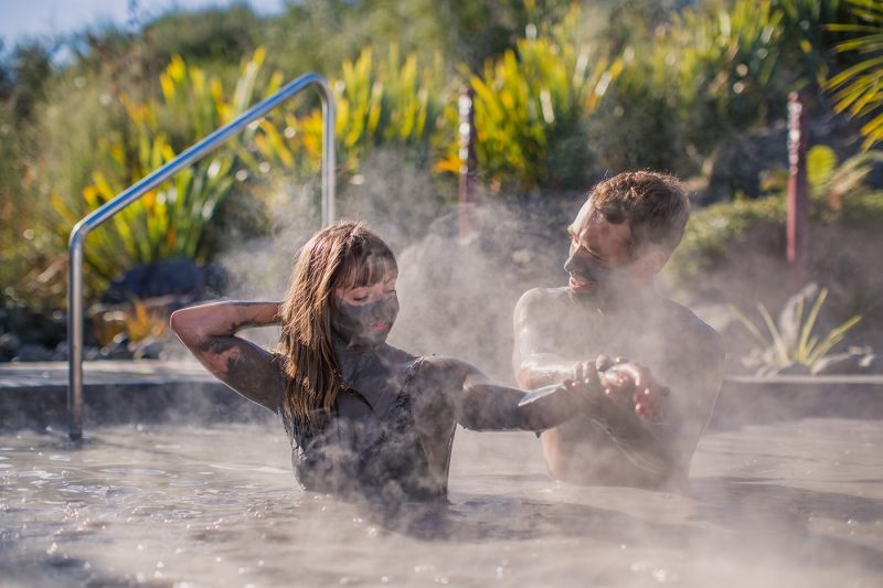 Couple in Hell's Gate geothermal mud baths