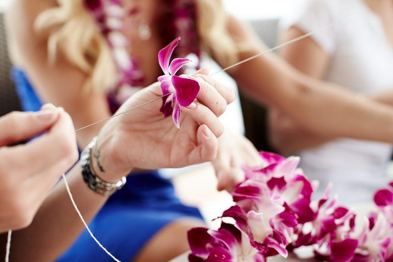 Lei making in Hawaii