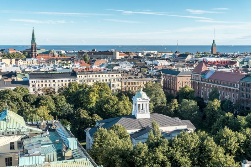 An arial view over Helsinki
