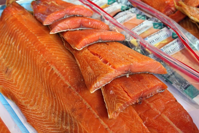 Salmon on a stall at the fish market in Bergen, Norway