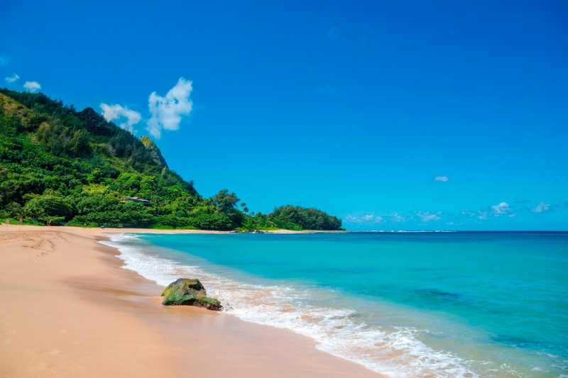 Beautiful sandy beach with bright blue sea in Kauai Hawaii