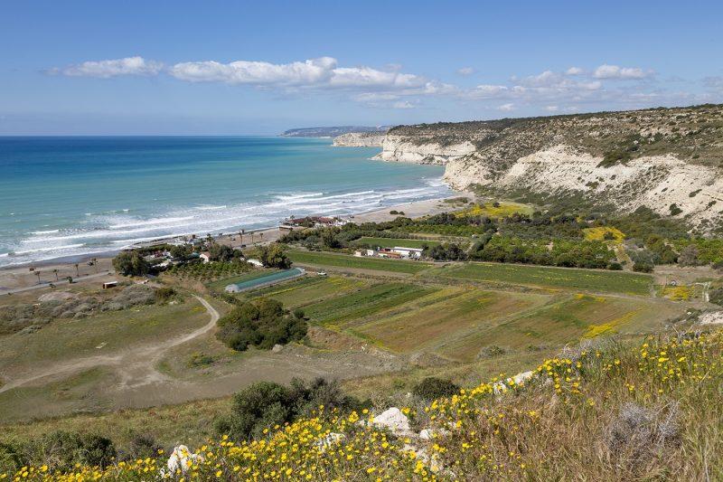 Kourion Beach and cliffs at Episkopi Bay