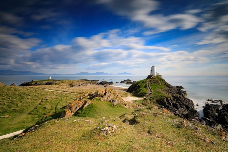 Llanddwyn Island in Anglesey with a few of the lighthouse
