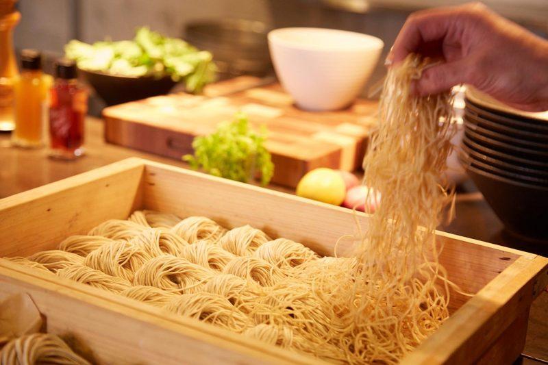 Noodles being prepared
