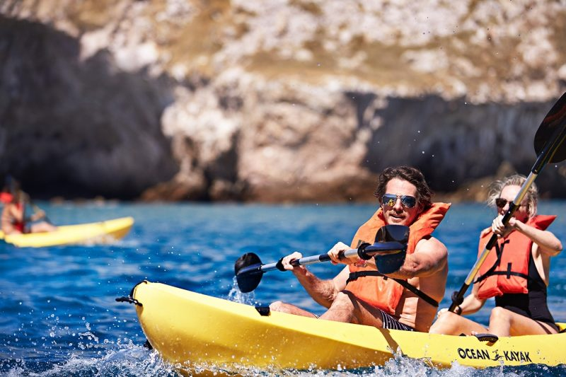 Two people kayaking in Mexico
