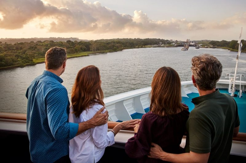 Two couples onboard a Princess ship sailing through the Panama Canal