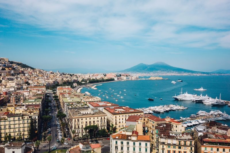 View across Naples with Mount Vesuvius in the background