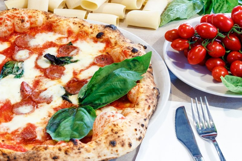 Naples pizza, tomatoes and pasta