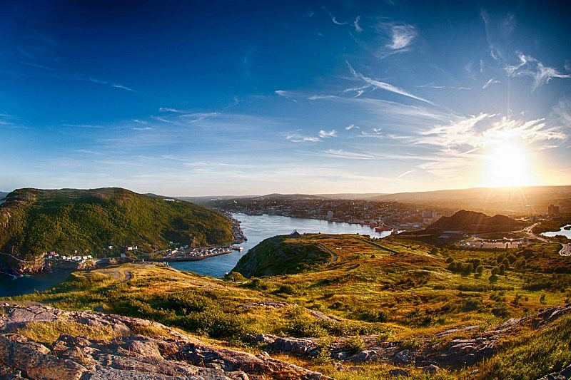 View from the mountains of St John's in Canada