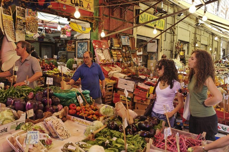 Fruit and vegetable seller in Palermo market