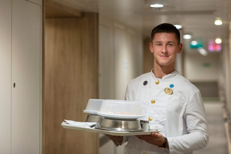 Food being delivered to a stateroom onboard a Princess ship