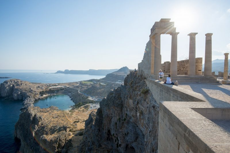 View over St. Pauls Bay from the Acropolis of Lindos, Rhodes