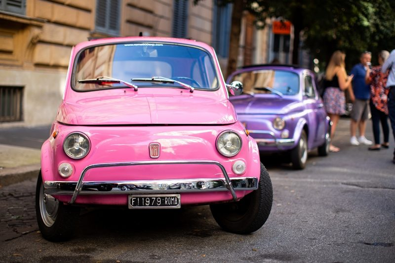 A variety of coloured Fiat cars in Rome