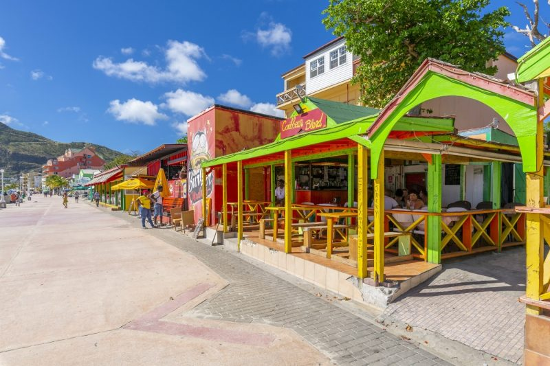 View of beach bar overlooking Caribbean Sea, Philipsburg, St. Maarten