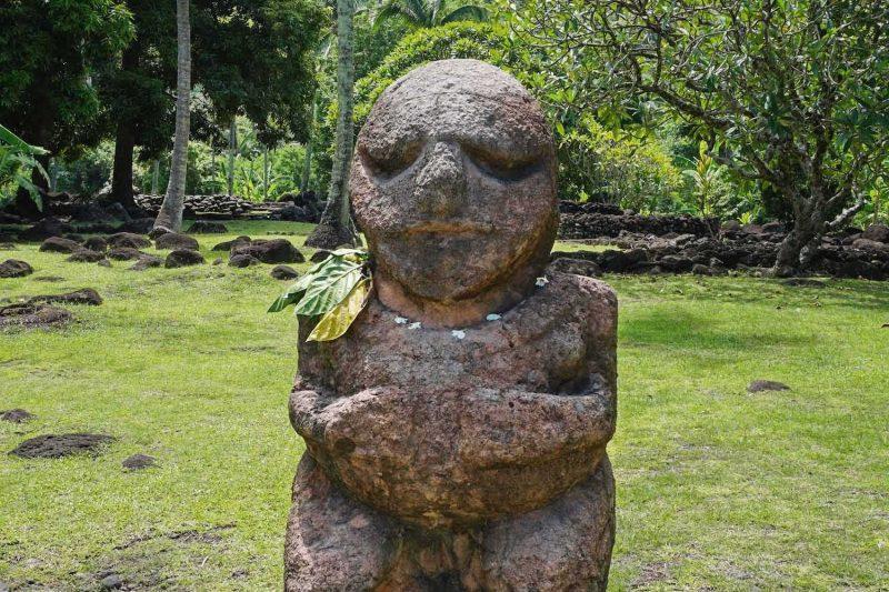 Stone tiki statue Paea Tahiti