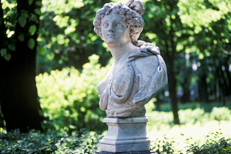 Female bust sculpture at the Summer Garden in St. Petersburg, Russia, Eastern Europe, Europe