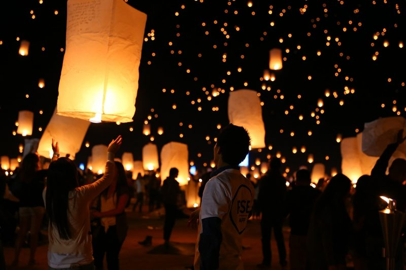 Group of people launching lanterns into sky