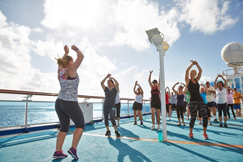 Zumba Class on deck of ship