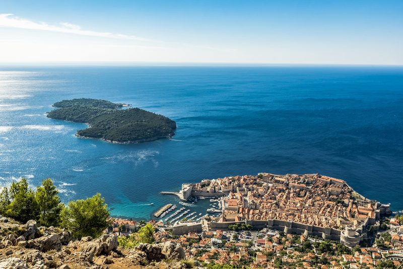 A view of the Old City of Dubrovnik and Lokrum Island