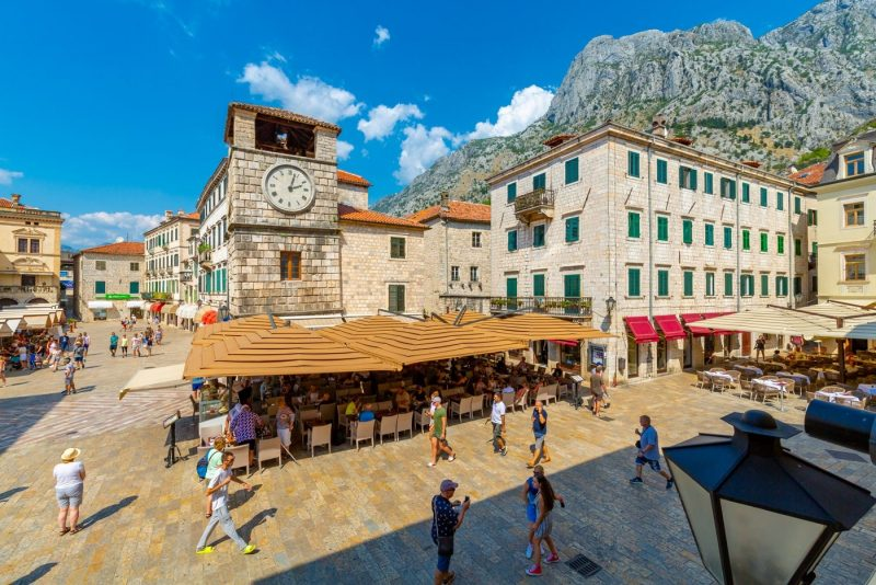 View of Old Town Clock Tower in the Old Town of Kotor, UNESCO World Heritage Site, Kotor, Montenegro