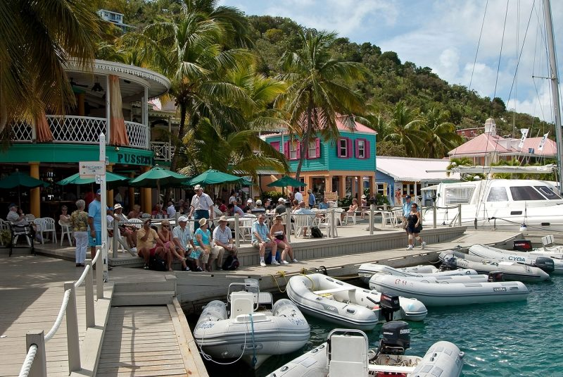 Rubber dinghy's moored at Pussers Landing, Tortola, British Virgin Islands, Caribbean