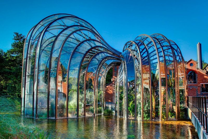The glasshouses of the Bombay Sapphire distillery