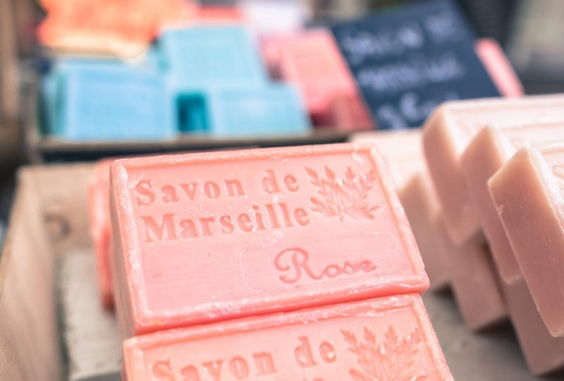 Pink soaps for sale in Marseille France