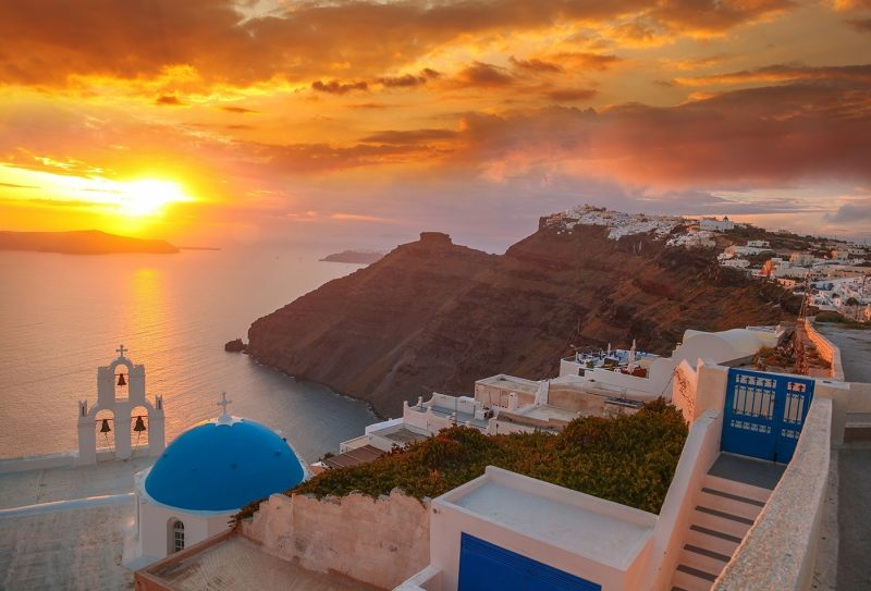 View over rooftops of Oia, Santorini